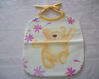 bib for Doll or doll cotton printed with a teddy bear Christmas