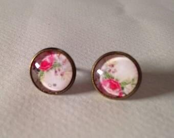 """Flea"" rose cabochons earrings"