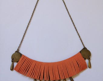 Ethnic inspired necklace Orange suede