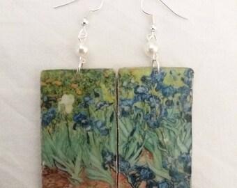 Van Gogh's iris earrings