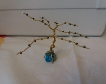 Turquoise brass tree of life