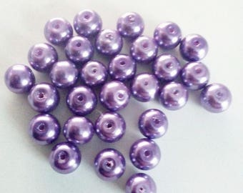 Set of 30 lilac 8mm round pearls