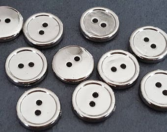 20 buttons silver 11 mm acrylic buttons, knitting and sewing button