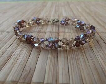 Brown swarovski pearl bracelet, handmade.