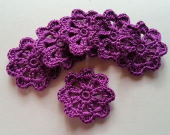 Dark purple Crochet Cotton Flower applique