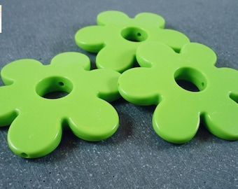 2 large 60mm diameter, (ps54) Apple green acrylic flower beads