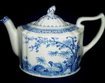 FURNIVALS Quail Teapot w/ Lid - Blue, Round Backstamp