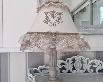 Lampshade beige taupe ecru embroidery bow lace vintage Shabby Chic heart