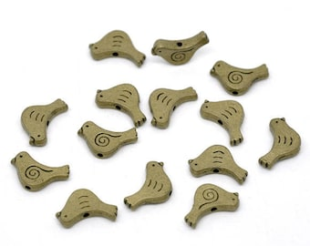 set of 2 beads bird 15 x 12 mm bronze