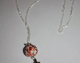 copper polymer clay necklace coral and white