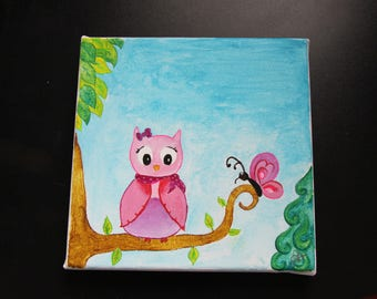 Picture / frame for children: a painting personalized with your child's name. The little OWL on pink