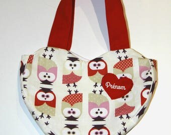 Little girl handbag personalized heart-shaped: red and owls