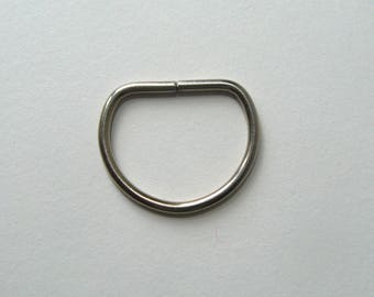 Ring shaped D, soldered, silver, 30 X 25