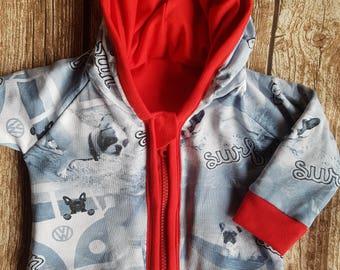 Baby jacket with hood French Bulldog size 74