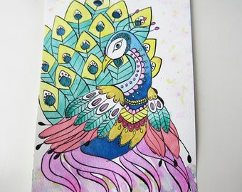 Drawing / illustration graphic Peacock in India ink and watercolor