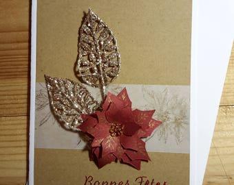 Christmas poinsettia Kraft card