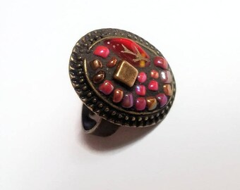Oval red beads mosaic Adjustable ring