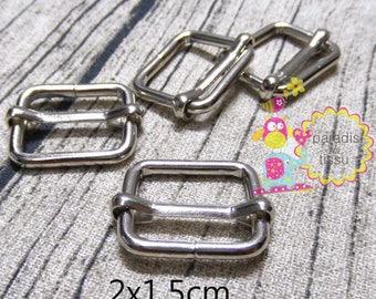 20 x Stirrups passing 2x1.5cmx3mm silver rectangular shaped