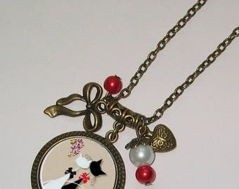 Necklace jewel cabochon 25mm * black and white cats *.