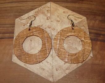 Rustic wood Earrings: small hoops