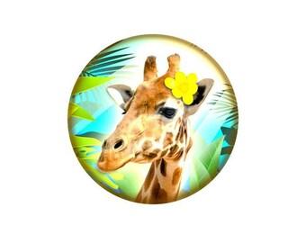 1 cabochon 25 mm glass giraffe - 25 mm