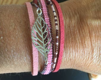 Bracelet Burgundy and pink - summer print