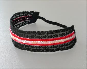 Black Lace, Velvet Fuchsia & sequin wide headband BCA96