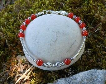 Bracelet carnelian round beads, length 20 cm, gift for her