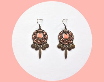 Peach pink and bronze Bohemian earrings - gift idea