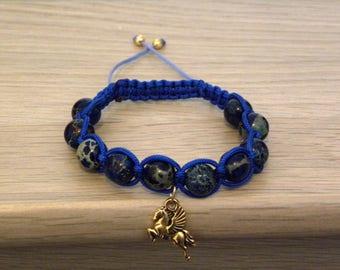 Pegasus Shamballa bracelet - Blue magnesite beads