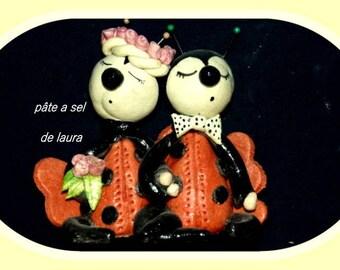 a couple of ladybugs in salt dough