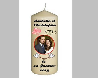 Candle custom wedding 15cm in height, Inscriptions and design choice