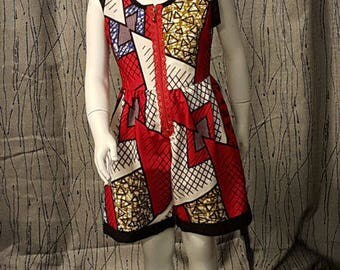 Playsuit Wax cotton, red, white, black. HAND MADE