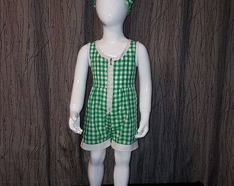Green/White gingham cotton romper. 2/3/4 years old. HAND MADE