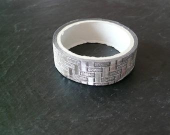 Lot de 2 Rouleaux de scotch masking tape paillettes strass argenté motif rectangle 1,5cm x 3m