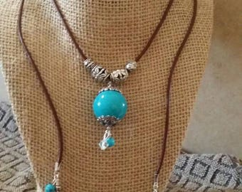 Leather & Turquoise Lariat