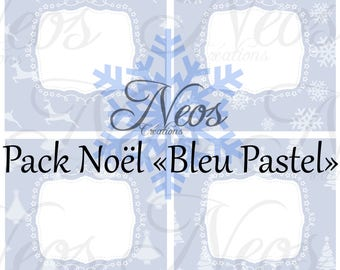 Pack of 4 images digital Blue Christmas