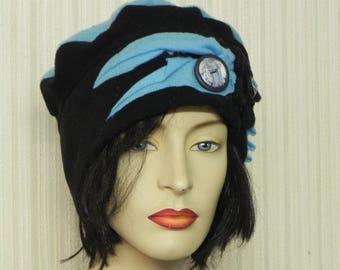 Designer black and blue fleece Hat entirely handmade