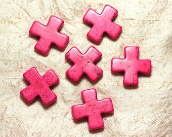 Wire 12pc approx 39cm - cross 30mm neon pink synthetic Turquoise stone beads