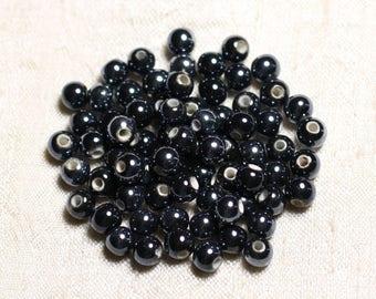100pc - ceramic porcelain round 6mm iridescent black beads