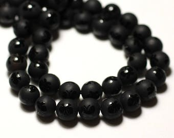 Frosted matte butterflies wire 39cm 47pc env - stone beads - Black Onyx balls 8 mm