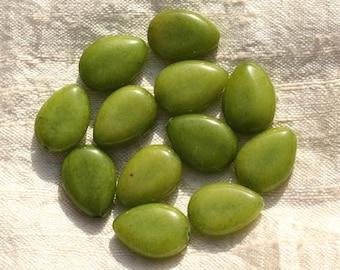 4pc - stone - Green Jade beads 18x13mm drops - 4558550004277