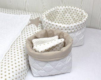 Duo of baskets and 4 wipes, white and beige, attached to the set beige stars