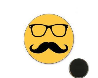 Mustache yellow Magnet 32 mm magnet