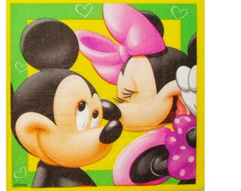 Set of 3 ENF005 Mickey and Minnie paper napkins