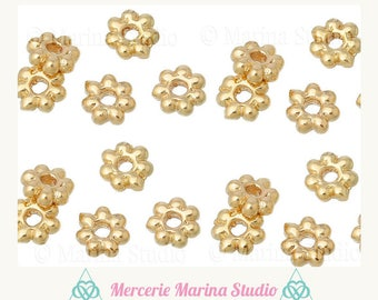 10 5x5mm 14Kt Gold plated spacer flower beads
