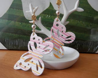pretty pink and white wooden Butterfly