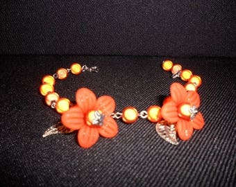 d flowers orange (bracelet)
