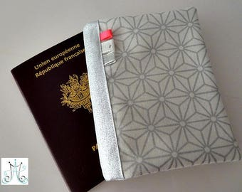 Protects Passport white and silver Asanoha pattern flags