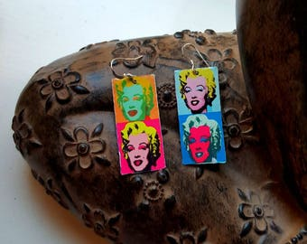 Upcycled Pop Art Andy Warhol Marilyn Monroe Retro Tin Lightweight Earrings with 925 Sterling Silver Wires